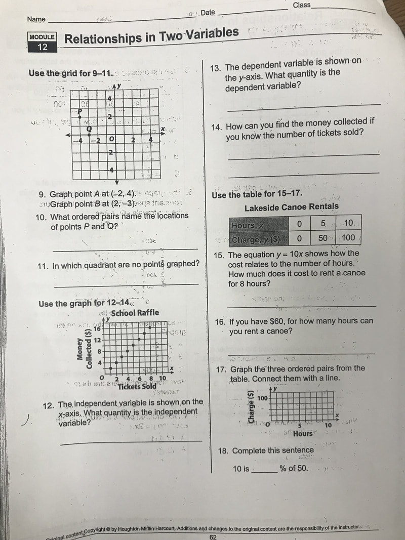MATH MS  RYDER HOMEWORK - WELCOME TO GREEN SIX
